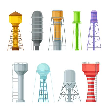 Water towers, storage tanks and reservoirs with stairs, different design and bright colors. Flat vector Illustration isolated on white background.
