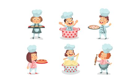 Set Of Six Vector Illustrations Of Babies Playing Cookers In Uniform Çizim