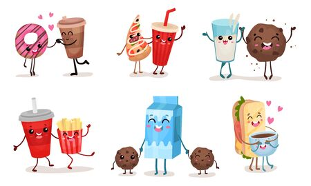 Vector images set with humanized cartoon food representing various positive emotions and relations, such as happiness, love, surprise, fun or pleasure. For banners, menu, icons, labels or advertising