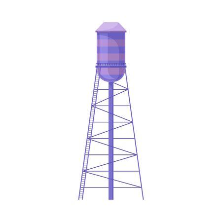 Water Tower Cylinder Of Violet Color With Ladder Flat Vector Illustration  イラスト・ベクター素材