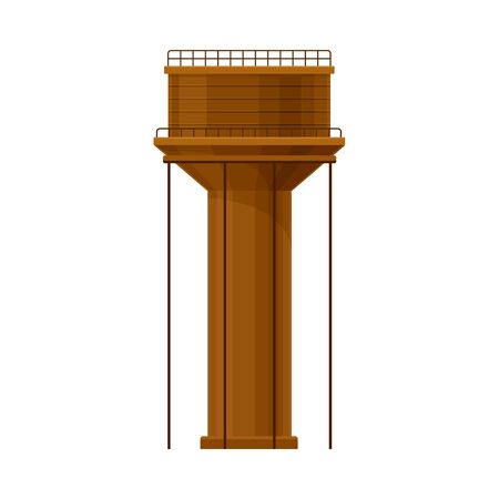 Big Brown Water Tower Flat Vector Illustration Illustration
