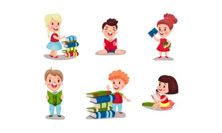 Set Of Vector Illustrations With Various Positions Of Children Reading Books