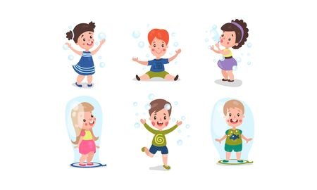 Set Of Six Vector Illustrations With Children Playing With Bubble Blower
