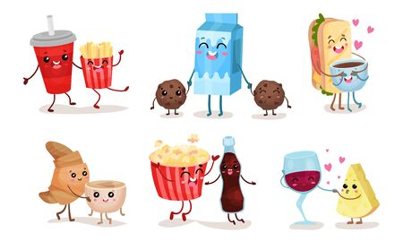 Vector set of images with humanized cartoon food representing emotions and relations. Happy milk, caring croissant, joyful popcorn, shy glass of wine and others. For banners, menu, labels, advertising