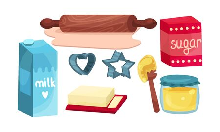 A rolling pin for dough, a cookie mold and a food ingredients such as a milk, a sugar, a jar of honey and a butter for making a shortbread cookies. Culinary vector concept