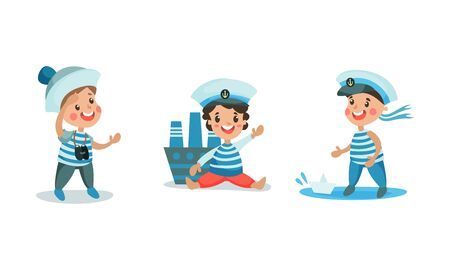 Set Of Vector Illustrations With Boys Playing In Sailors In Sail Suits