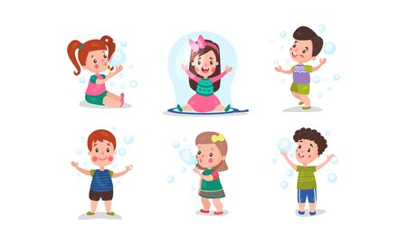 Set Of Six Vector Illustrations With Children Having Fan With Bubble Blower