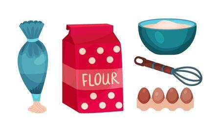 Ilustracja narzędzi do pieczenia kreskówek i składników żywności na białym tle