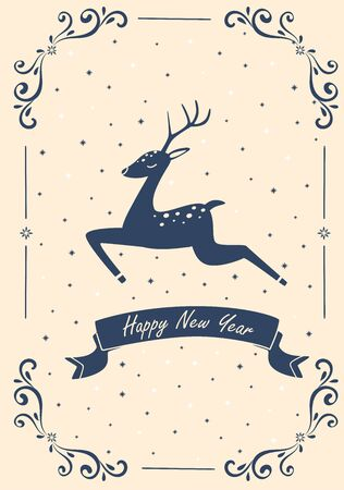 Christmas card with a galloping deer. Vector illustration.