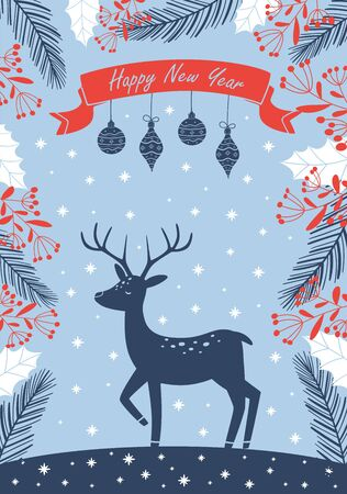 New Years light blue postcard with a deer and Christmas attributes. Vector illustration. Illustration