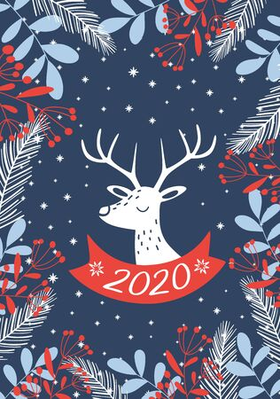Dark blue New Year card 2020. Vector illustration.