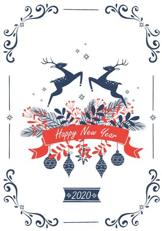 White New Year card with deer and an inscription 2020. Vector illustration.