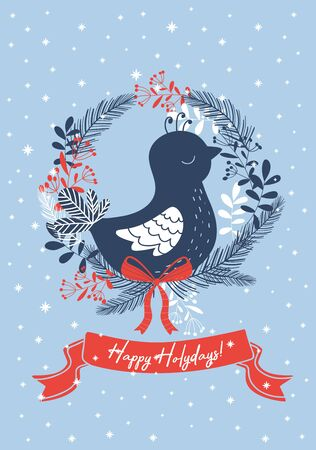 Light blue christmas card with bird. Vector illustration.
