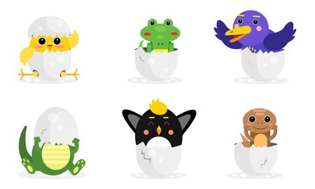 Vector Illustration Set With Adorable New Born Animals In Eggs