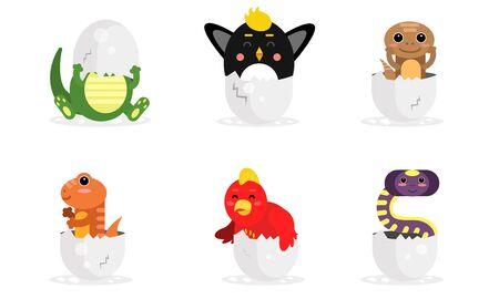 Adorable New Born Animals In Eggs Vector Illustration Set