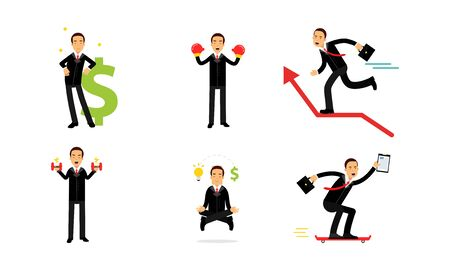 Set Of Vector Illustrations With Concept Of Real Businessmen Usual Routine