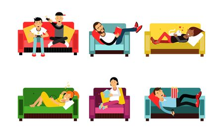 Vector Set With People Inside Entertainments On The Couch Or In The Armchair Isolated On White Background Ilustração