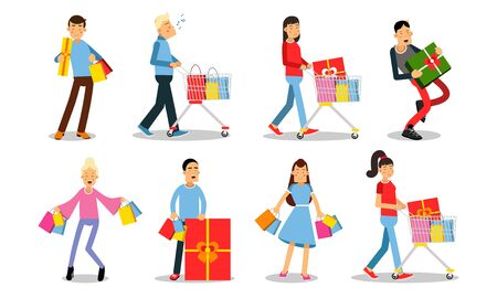 Set of ten pictures with people in shopping process. Men and women holding colorful bags, carrying baskets, looking very happy. Vector illustration, cartoon characters, isolated on white background.