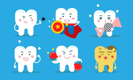 Set Of Six Healthy Teeth Concept Vector Illustrations Cartoon Characters  イラスト・ベクター素材