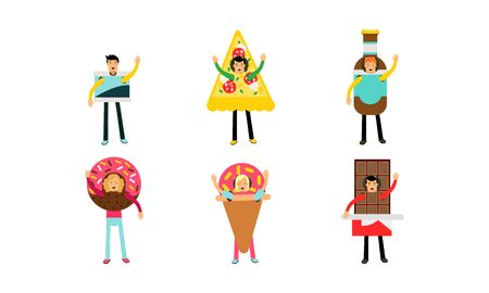 People In Giant Costumes Of Different Kinds Of Junk Food Set Of Vector Illustrations Illustration