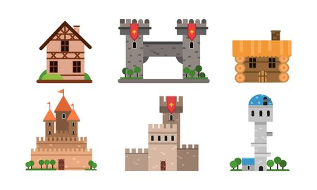 Different Types Of Buldings And Houses Flat Vector Illustration Set