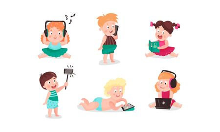 Vector Illustrations With Little Children Using Modern Electronic Gadgets Concept Set