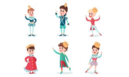 Set Of Vector Illustrations With Little Boys Wearing Fairy Princes And Kings Costumes Cartoon Characters