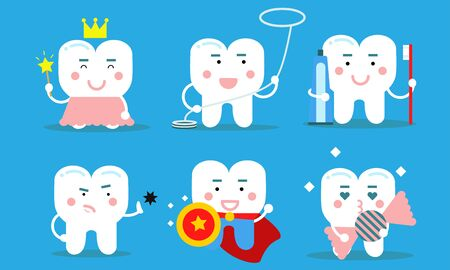 Set Of Healthy Teeth Concept Vector Illustrations Cartoon Characters