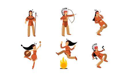 Native American Indians Characters Set Cartoon Vector Illustration Ilustração