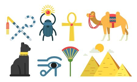 Vector Illustration Set With Ancient Egypt Cartoon Icons Isolated On White Background 일러스트