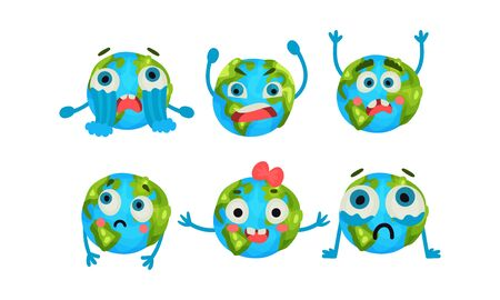 Vector Illustration Set With Six Cute Cartoon Earth Globe With Different Emotions Vector Illustrations