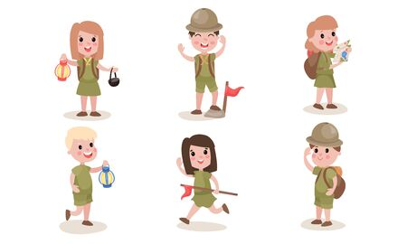 Six boys and girls scouts in different actions during campagn. Hiking, running, blowing the horn, looking through binoculars. Vector illustrations, cartoon characters, isolated on white background.
