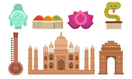 Illustration Set With Indian Cartoon Icons Isolated On White Background