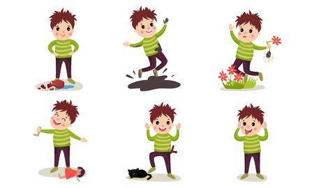 Ensemble d'illustrations vectorielles avec des garçons de personnages de dessins animés de comportement destructeur
