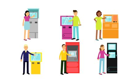 People using different automatic teller machines ATM . Men and women, young and old ones, different skin color and wear styles. Vector Illustrations, cartoon characters, isolated on white background. Stock Illustratie