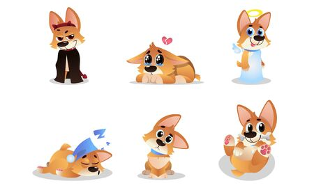 Flat Vector Illustration Set Of Funny Cartoon Welsh Corgi Pembroke Ilustrace