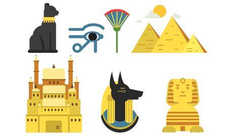 Illustration sertie de symboles égyptiens antiques isolés sur fond blanc