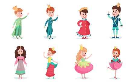 Set Of Vector Illustrations With Little Boys And Girls Wearing Fairy Princes And Princesses Costumes Cartoon Characters