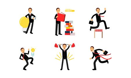 Set Of Vector Illustrations With Businessmen Office Life And Goals Concept Çizim