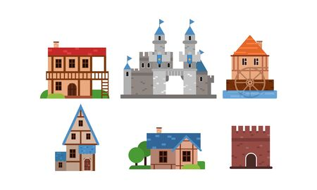 Set Of Flat Vector Illustrations With Different Types Of Buldings Illusztráció