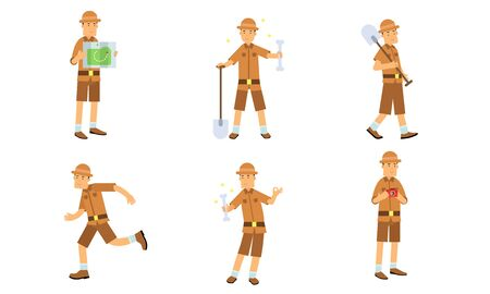 Vector Illustration Set Of Archaeologist Character Actions