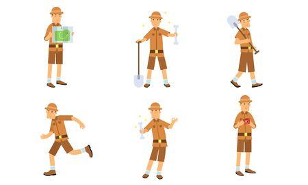 Vector Illustration Set Of Archaeologist Character Actions Banco de Imagens - 131735518