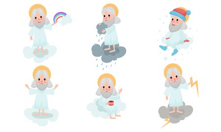 Set Of Cartoon Gods Making Dayly Routins On White Clouds Vector Illustrations  イラスト・ベクター素材