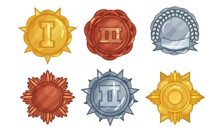 Set Of Vector Illustrations With Melals Of Different Ranges And Metals