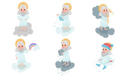 Set Of Vector Illustrations With Cartoon Gods Making Dayly Routins On White Clouds Banco de Imagens - 131734934