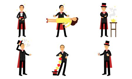 Magic Tricks Of Illusionist In Vector Illustrations Set Isolated On White Background