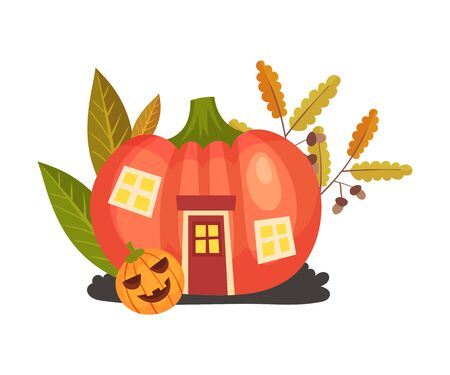 Pumpkin in the form of a house. Halloween object. Vector illustration. Illusztráció