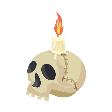 Skull with a candle. Halloween object. Vector illustration. Zdjęcie Seryjne - 131190362