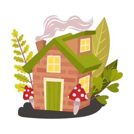 Small brick house in tall grass. Halloween object. Vector illustration. Banco de Imagens - 131735430