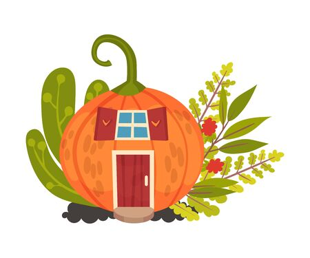 Round house made of pumpkins. Halloween object. Vector illustration.